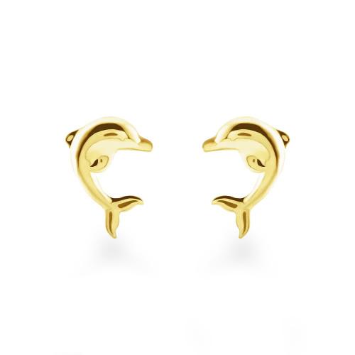 14K Dolphin Stud Earrings