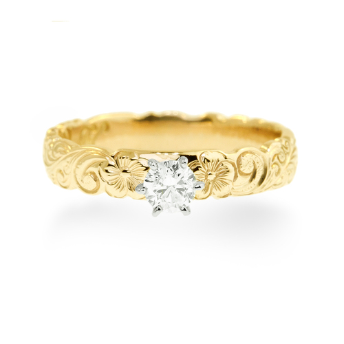 14K Hawaiian Diamond Makamae Ring