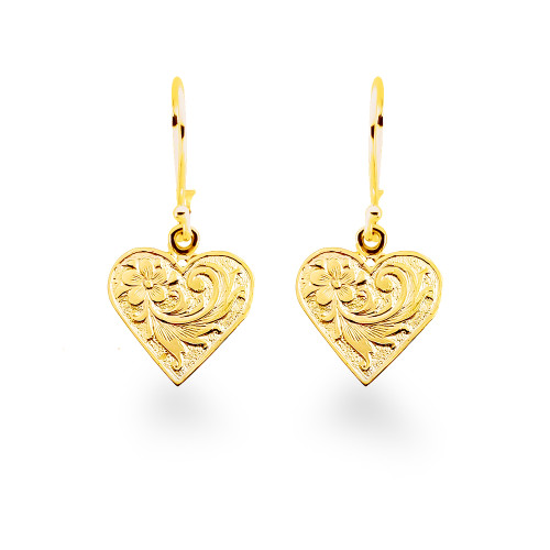 14K Hawaiian Heart Queen Emma Earrings