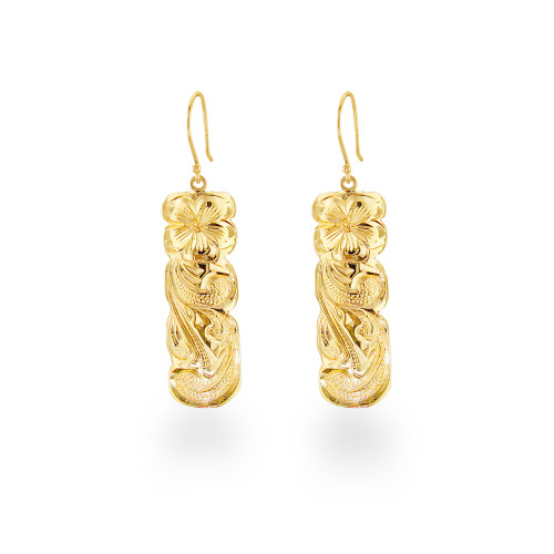 14K Hawaiian Pua Li'i Queen Earrings
