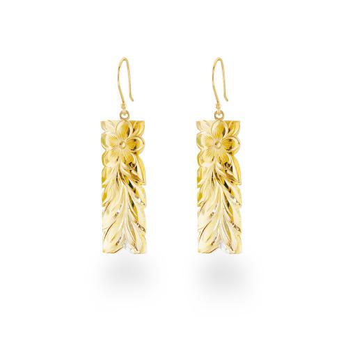 14K Hawaiian Pua Li'i Maile Earrings