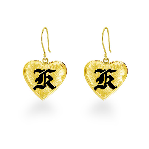 14K Hawaiian Heart Initial Earrings - 12mm