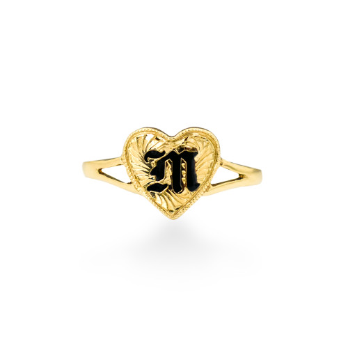 14K Hawaiian Initial Ring - Split Heart