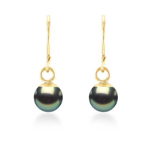 14K Tahitian Pearl Earrings Dangle