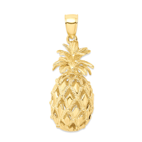 14K Hawaiian Pineapple 3D Pendant - Large