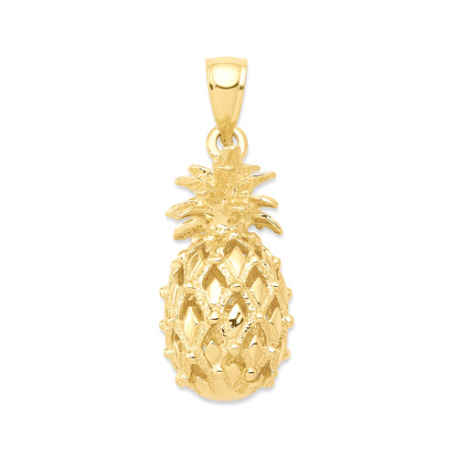 14K Hawaiian Pineapple 3D Pendant  - Med
