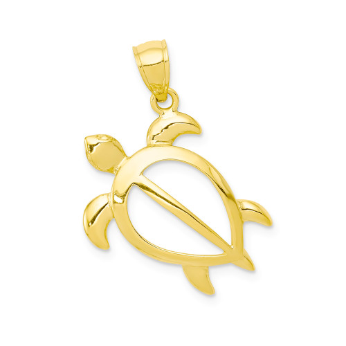 14K Hawaiian Petro Honu Pendant  - 20mm