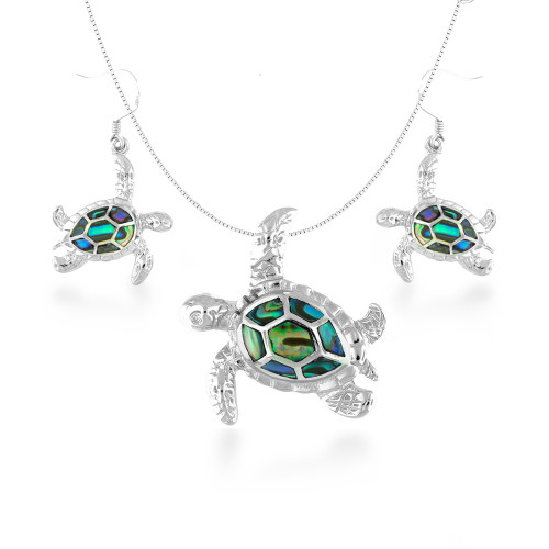 Sterling Silver Abalone Sea Turtle Set