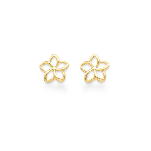 14K Plumeria Earrings Cutout Pointed Petals