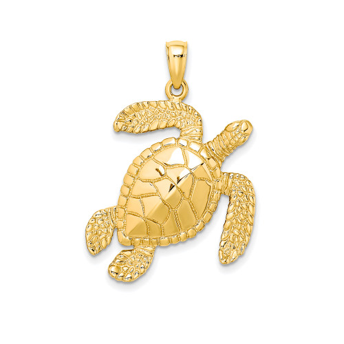 14K Hawaiian Sea Turtle Pendant  - 29mm