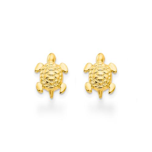 14K Sea Turtles Earrings - 8mm
