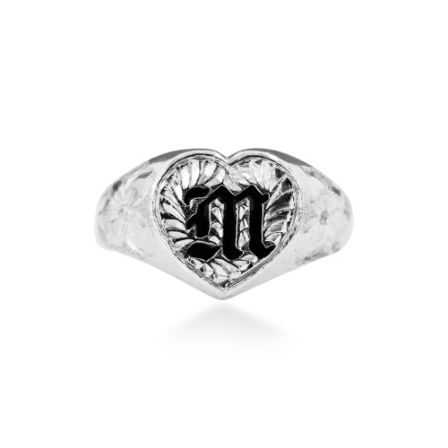 Sterling Silver Hawaiian Initial Ring -  12mm Heart