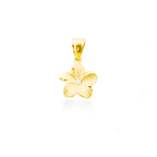 14K Plumeria Pendant - Icicle 10mm w/ Diamond