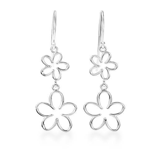 Sterling Silver Plumeria Earrings - Open 2 Flower Dangle