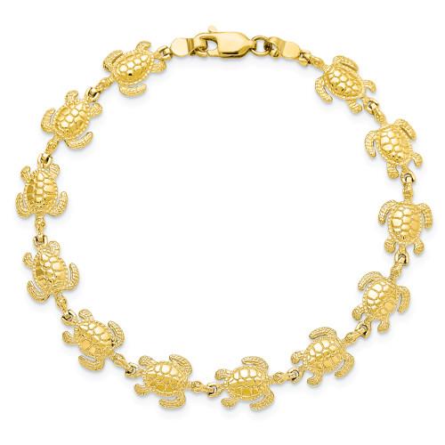 14K Sea Turtles Link Bracelet