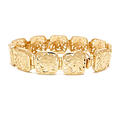 14K Hawaiian Plain Cut-Out Heritage Link Bracelet