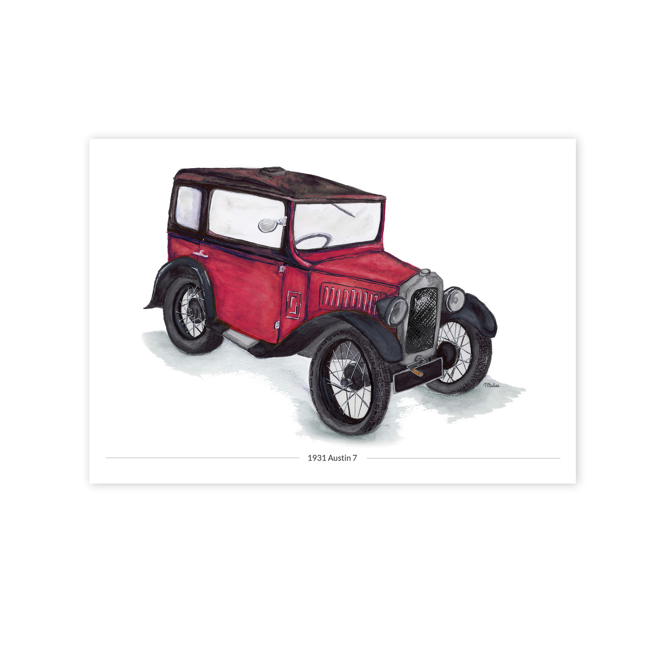 Austin 7 Red Saloon Illustration Car Print Typhoon Studios
