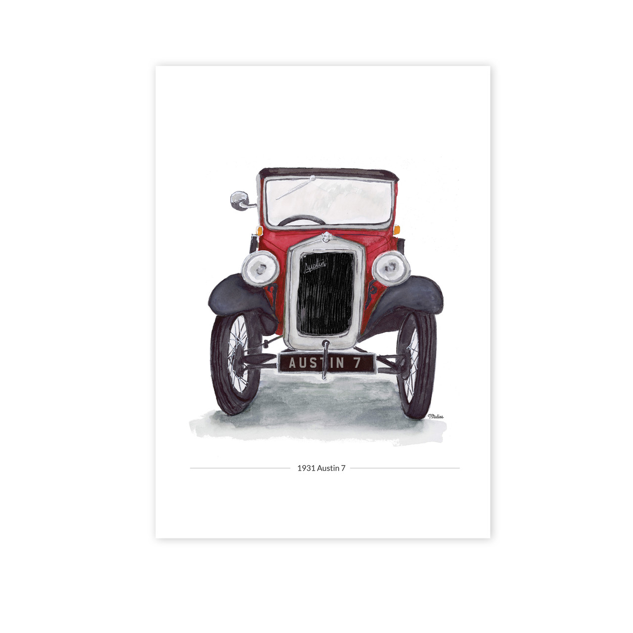 Austin 7 Saloon Front View Illustration In Red Giclee Car Print Typhoon Studios
