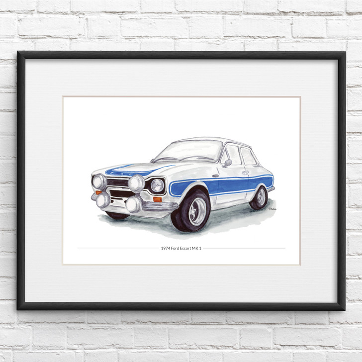 Ford Escort MK 1 Illustration Giclée Print