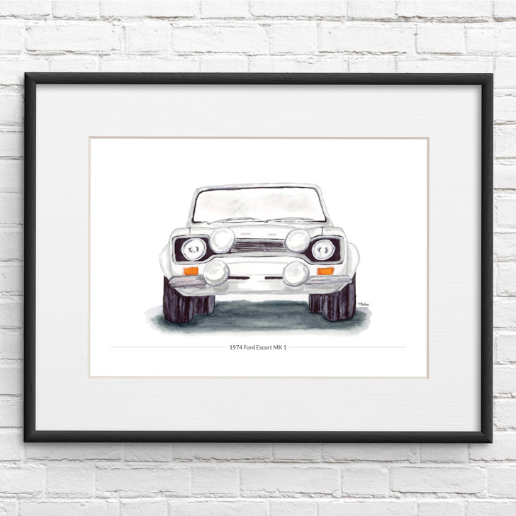 Front View of Ford Escort MK 1 Illustration Giclée Print