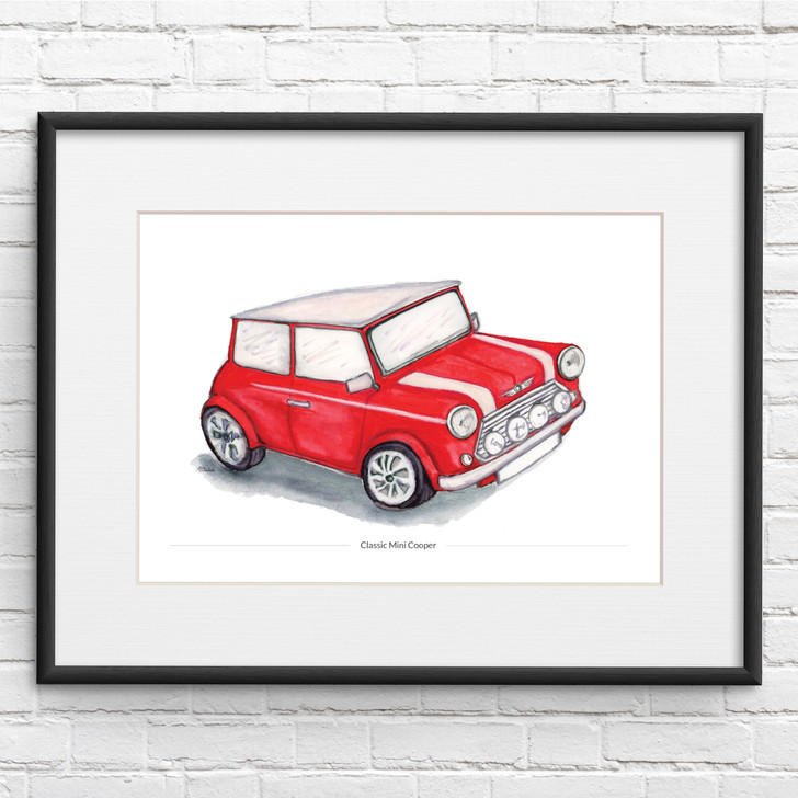 Classic Mini Cooper Illustration Print in Red