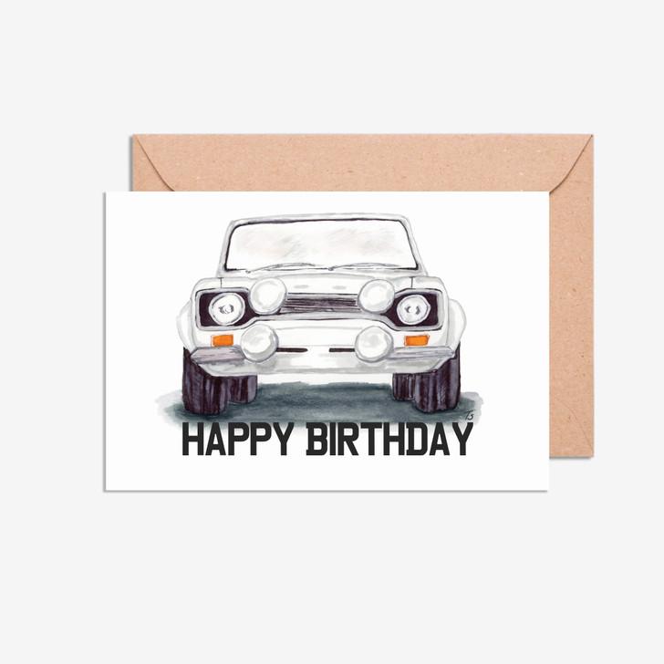 Happy Birthday Ford Escort MK 1 Front Car Illustration Card