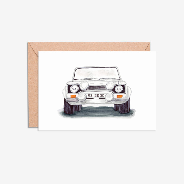 Ford Escort MK 1 Front View Car Illustration Blank Card