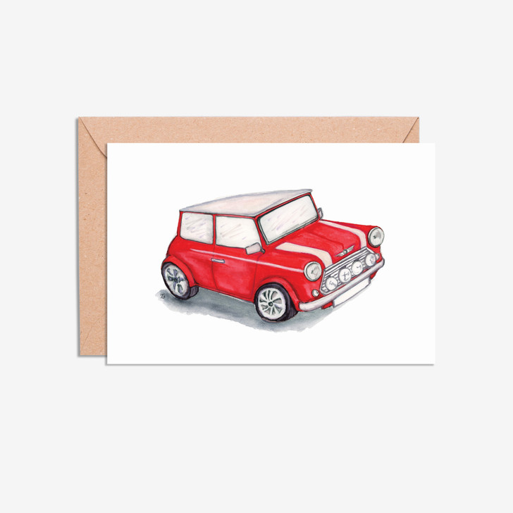 Mini Cooper car illustration blank cards