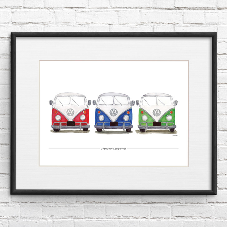 VW Camper Van Three in A Row Illustration Giclée Print