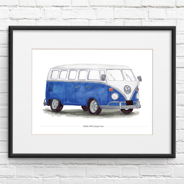 Blue VW Camper Illustration Giclée Print