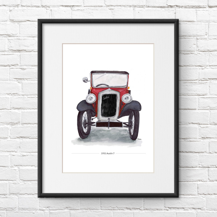 Red Austin 7 Saloon Front View Illustration Giclée Print