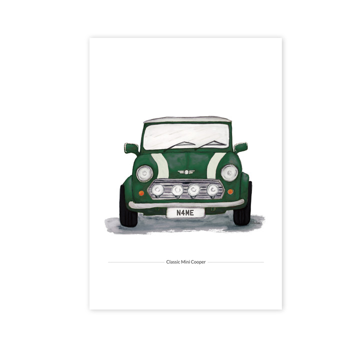 Classic Racing Green Mini Cooper Illustration Giclée Print