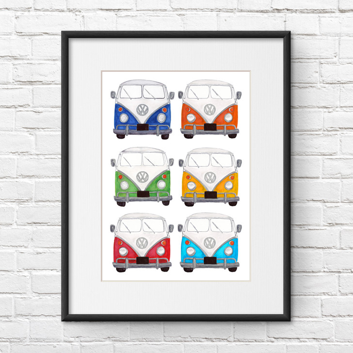 VW Camper Van Multicoloured Illustration Giclée Print