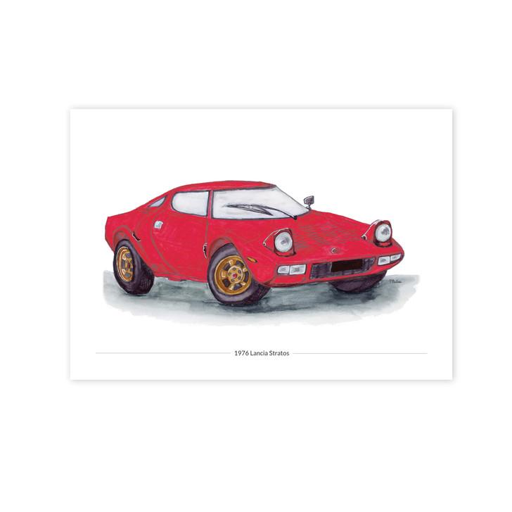 Red 1976 Lancia Stratos Illustration Giclée Car Print