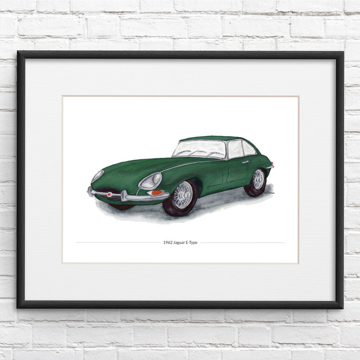green Jaguar E-Type Series 1 illustration