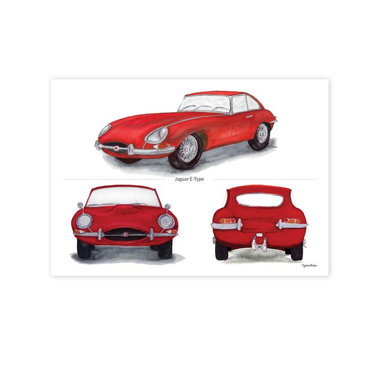 Jaguar E-Type Series 1 Trio in Red Illustration Print