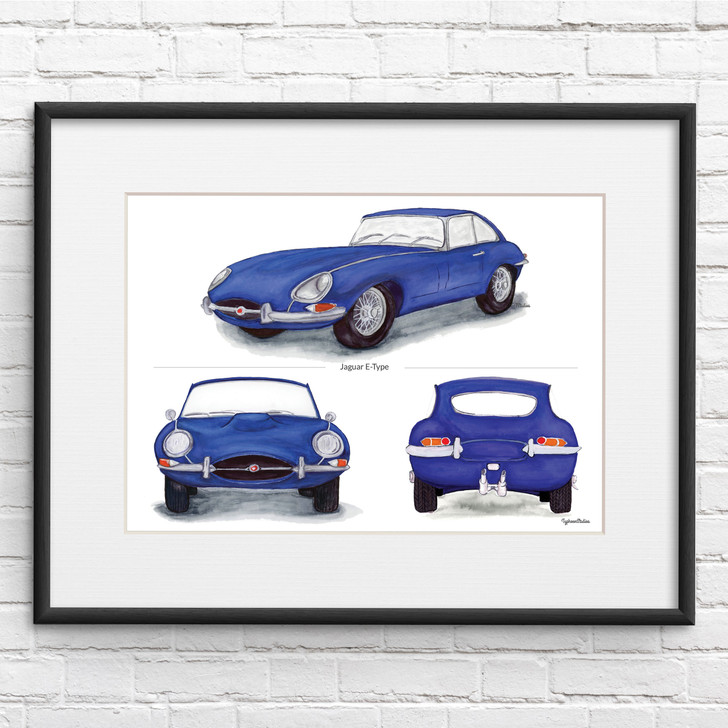 Jaguar E-Type Series 1 Trio in Blue Illustration Print