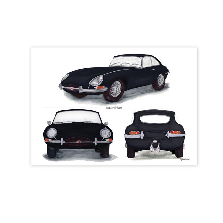 Jaguar E-Type Series 1 Trio in Black Illustration Print