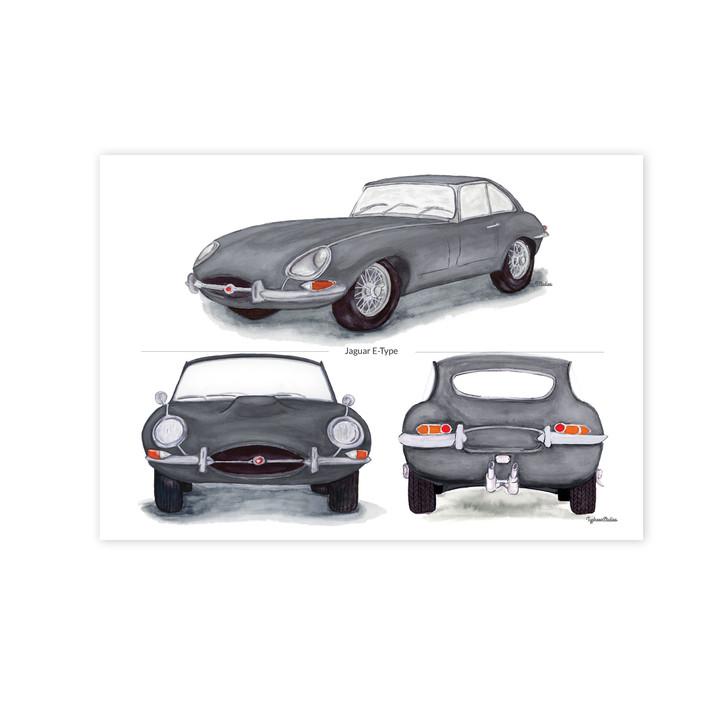 Jaguar E-Type Series 1 Trio in Silver Illustration Print