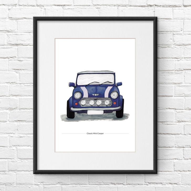 Classic Blue Mini Cooper Illustration Giclée Print