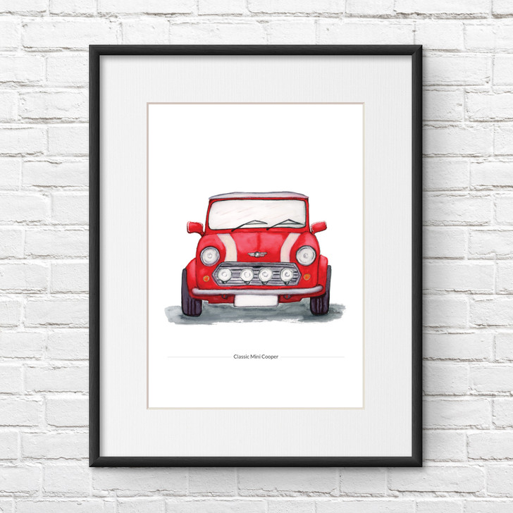 Classic Mini Cooper Front View Illustration Print in Red