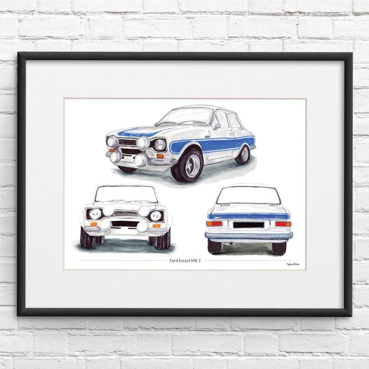 Ford Escort MK 1 Trio View Illustration Personalised Giclée Print