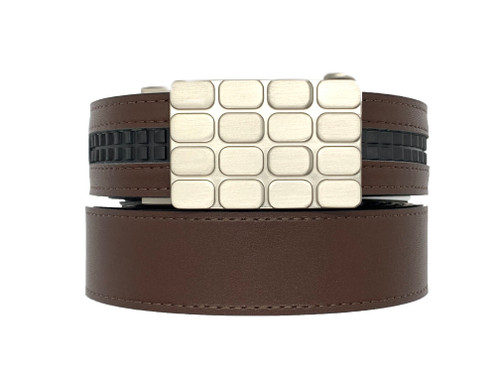 The REVERB with Cardiff BUCKLE  .... Black and Brown Reversible Belt  Animal Friendly Vegan LEATHER
