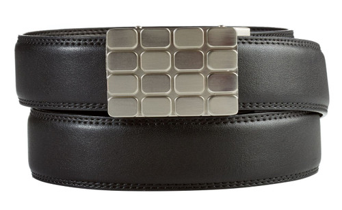 Cardiff Buckle in Silver Nickel with Black Leather