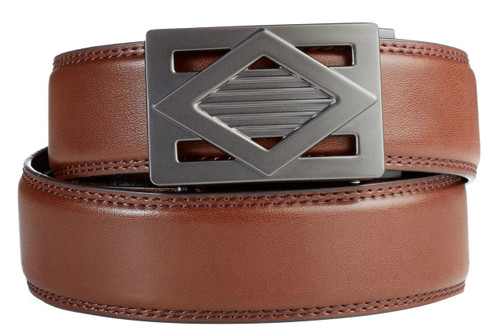 Del Mar Buckle in Gunmetal with Brown Leather