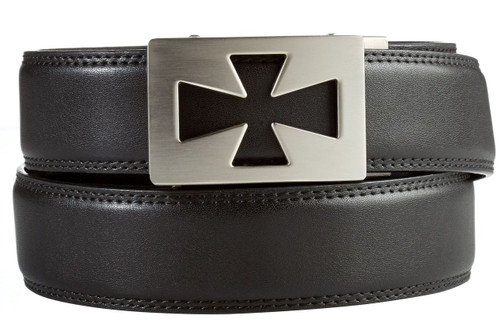 Ventura Buckle in Silver Nickel with Black Leather