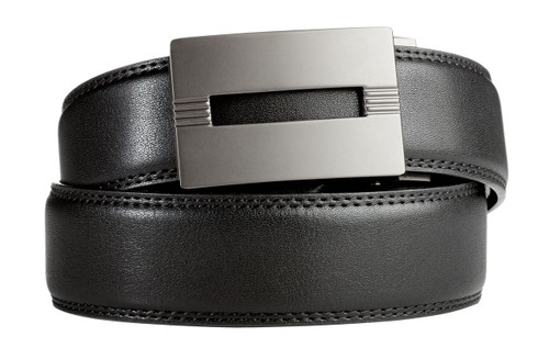 Malibu Buckle in Gunmetal with Black Leather