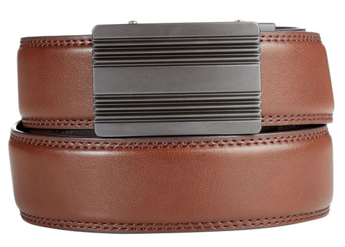 Monterey Buckle in Gunmetal with Brown Leather