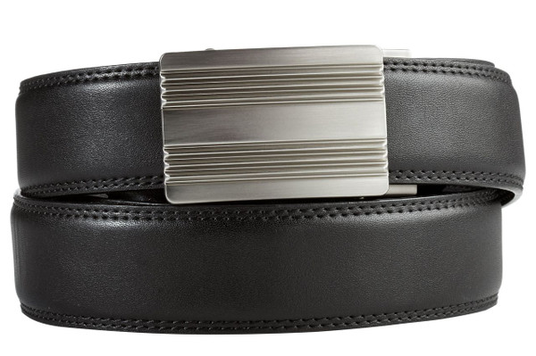 Monterey Buckle in Silver Nickel with Black Leather