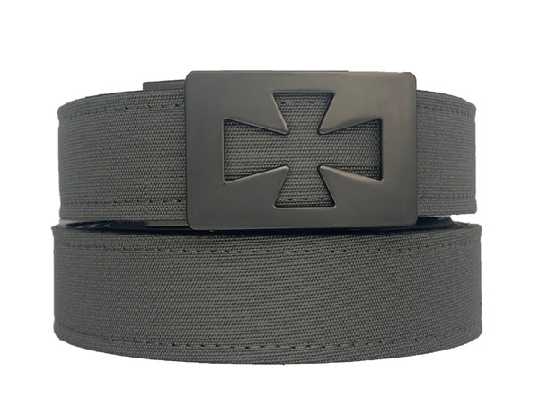 """VENTURA  Buckle in Gunmetal Finish with Charcoal Sports Casual Belt.   Our ratchet style belts have been engineered for your satisfaction and will prove to be the best fitting belt that you will ever own.   Micro adjustable to lock in your exact fit.   Men Ratchet Belt Buckle..  The best men's belt you'll ever own. No more belt holes. Instead an automatic buckle. Makes a perfect gift for dads, grads, boyfriends and brothers. All belts fit 24"""" to 44""""  This fashion design is popular to men that require style and comfort.     Belts that are essentials to anyone wearing pants.  available with gun metal and silver nickel buckle and leather straps or sports casual synthetic straps."""
